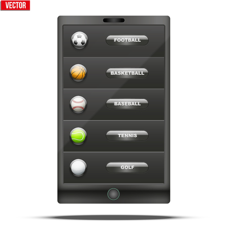 sports application: Glossy Glass icon with a sports ball in smartphone menu. Button for a site or application. Vector illustration.