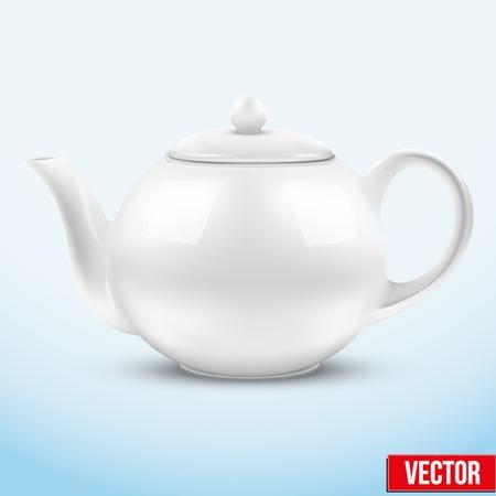 chinese tea cup: Tetera de cer�mica blanca. Ilustraci�n del vector. Aislado de fondo. Vectores