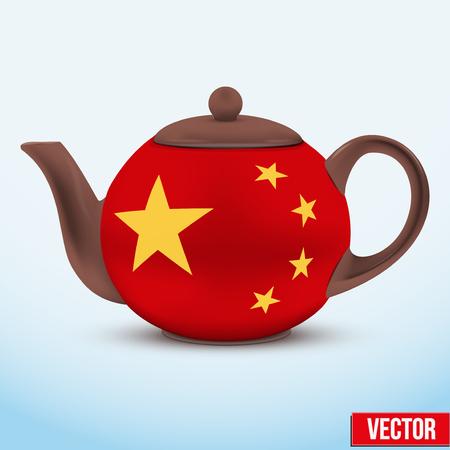 chinese tea cup: Tetera de cer�mica china. con la bandera de China. Ilustraci�n del vector. Aislado de fondo.
