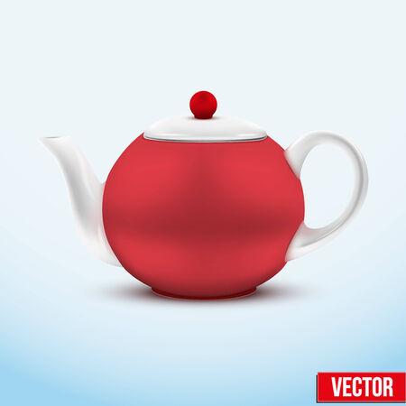 chinese tea cup: Tetera de cer�mica roja. Ilustraci�n del vector. Aislado de fondo. Vectores