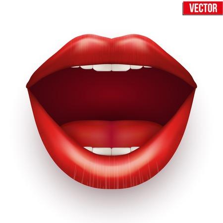 labios rojos: Boca de Womans con los labios abiertos. Ilustraci�n vectorial. Aislado en el fondo blanco.