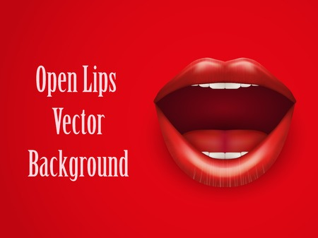 woman mouth open: Background of Womans mouth with open red lips. Vector Illustration. Isolated on white background. Illustration