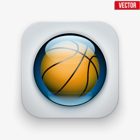 sports application: Sports button with basketball ball under transparent glass. Icons for a site or application. Vector illustration. Isolated on white background. Illustration