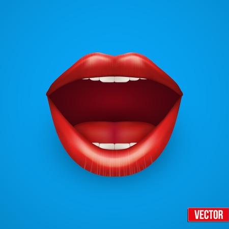 Achtergrond van Womans met open mond rode lippen. Vector Illustratie. Geïsoleerd op een witte achtergrond.