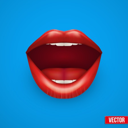 Background of Womans mouth with open red lips. Vector Illustration. Isolated on white background. Vettoriali