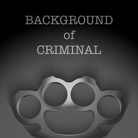 Dark Background of crime scenewith space for text. Weapons mafia of Metal Brassknuckles. Vector illustration. Vector