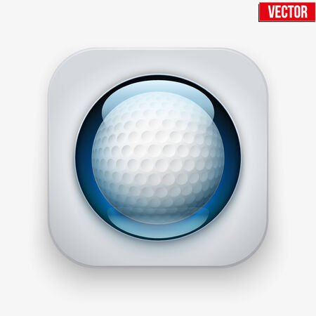 Sports button with golf ball under transparent glass. Icons for a site or application. Vector illustration. Isolated on white background. Vector