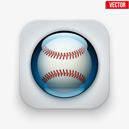sports application: Sports button with baseball ball under transparent glass. Icons for a site or application. Vector illustration. Isolated on white background. Illustration