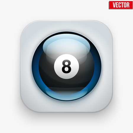 sports application: Sports button with billiard ball under transparent glass. Icons for a site or application. Vector illustration. Isolated on white background. Illustration
