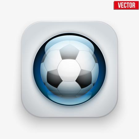 blisters: Tasto Sport con la palla calcio sotto vetro trasparente. Icone per un sito o un'applicazione. Illustrazione vettoriale. Isolato su sfondo bianco. Vettoriali