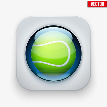 sports application: Sports button with tennis ball under transparent glass. Icons for a site or application. Vector illustration. Isolated on white background. Illustration