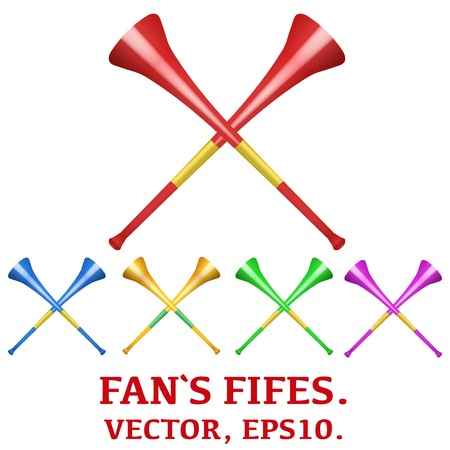 fife: Set of Fans fifes to support athletes at competitions. Golden pipe horn vuvuzela.Vector illustration. Isolated on white background Illustration