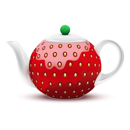 fruitage: Ceramic Teapot in the form of a large red strawberry. Vector Illustration.