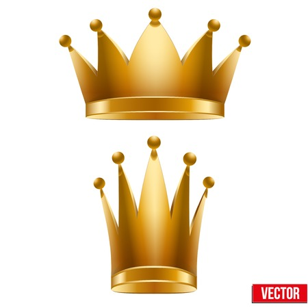 Set of Gold classic royal Crowns  King and Queen  Vector Illustration and Isolated On White Background  Vector