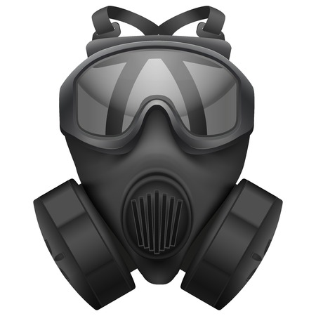 gasmask: Military black gasmask respirator  Rubber army symbol of defense and protect  Isolated on white background  Bitmap copy  Stock Photo