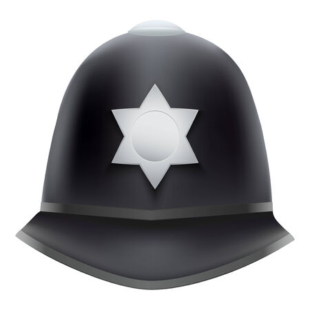 A traditional authentic helmet of metropolitan British police officers  Isolated on white background  Bitmap copy  photo
