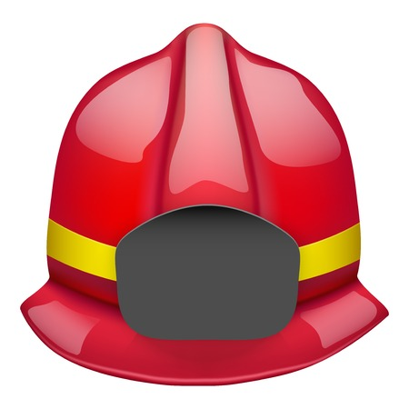 Red firefighter glossy helmet  Space for badge or emblem  Isolated on white background  Bitmap copy