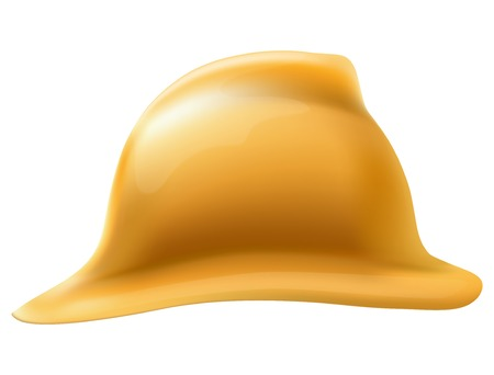 Side view of Retro Gold firefighter helmet  Defense and protection  Isolated on white background  Bitmap copy  Banco de Imagens