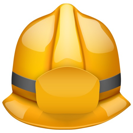 public servants: Gold glossy firefighter helmet  Space for badge or emblem   Isolated on white background  Bitmap copy  Stock Photo