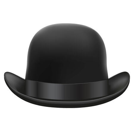 Black bowler hat with silk ribbon   Isolated on white background  Bitmap copy