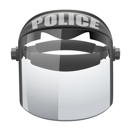 department head: Police glass protect transparent mask  Safe object  Goggles glass symbol of defense and protection  Isolated on white background  Bitmap copy