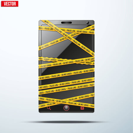 police tape: Smartphone, mobile phone police tape wrapped with words Do Not Cross  Vector illustration  Illustration