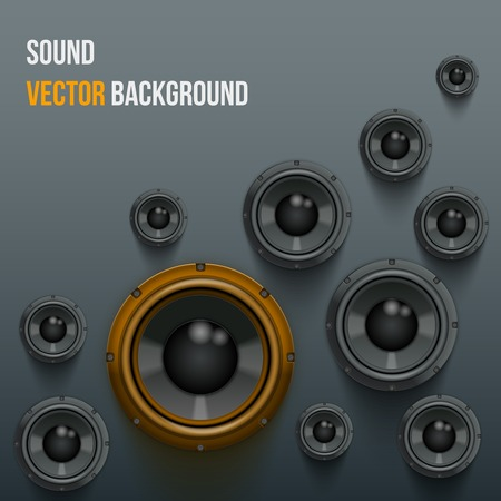 woofer: Background of Sound speakers Dynamics with one orange piece  Vector Illustration