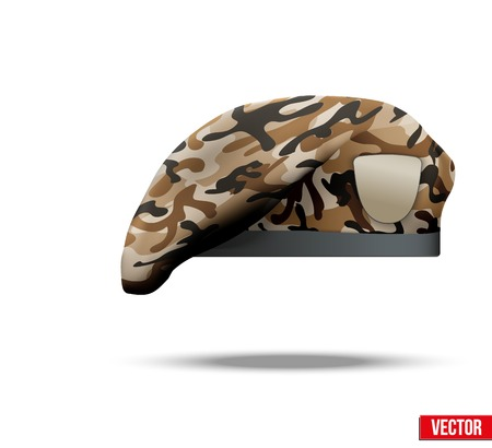 Military Beret with camo texture of Army Special Forces  Vector Illustration  Isolated on white background  Illustration