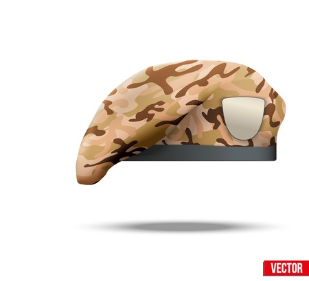military beret: Military Beret with camo texture of Army Special Forces