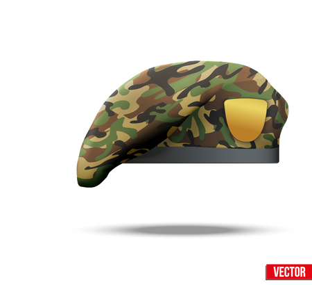 Military Beret with camo texture of Army Special Forces Illustration