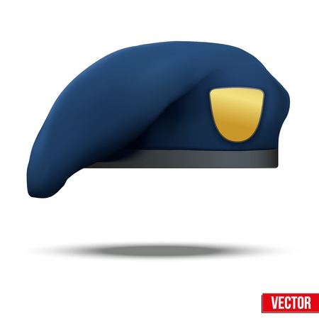 military beret: Military Blue Beret of NAVY Army Special Forces with empty emblem