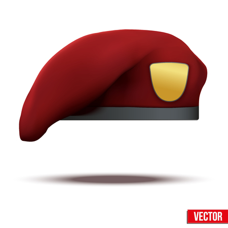 Maroon Military Red Beret of Army Special Forces with empty emblem  Illustration