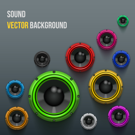 Background of Colorful Sound speakers Dynamics