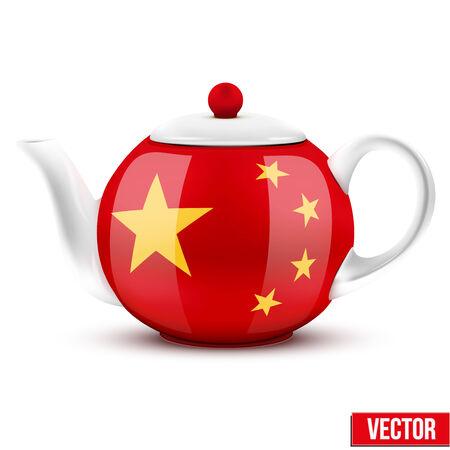 chinese tea cup: T� de la tetera de cer�mica china con la bandera de China
