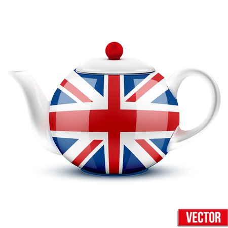 english breakfast: English tea ceramic teapot with flag of Great Britain