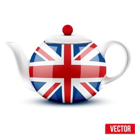 vintage dishware: English tea ceramic teapot with flag of Great Britain