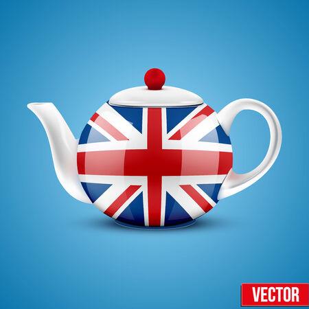 chinese tea cup: Antecedentes de la tetera de cer�mica Ingl�s con la bandera de Gran Breta�a