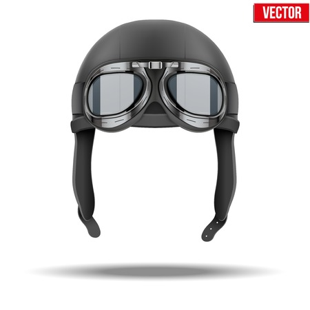 Retro aviator pilot leather helmet with goggles  Vintage object  Vector