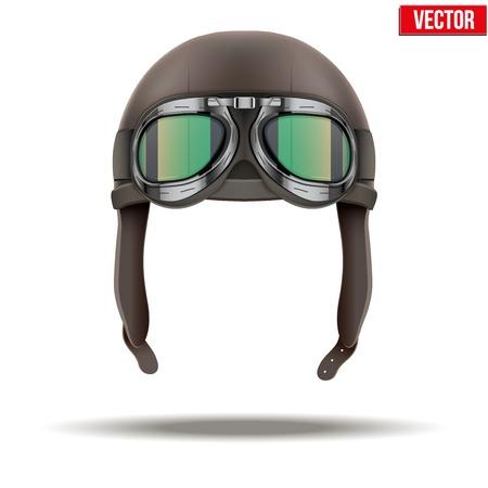 aviator: Retro aviator pilot leather helmet with goggles  Vintage object