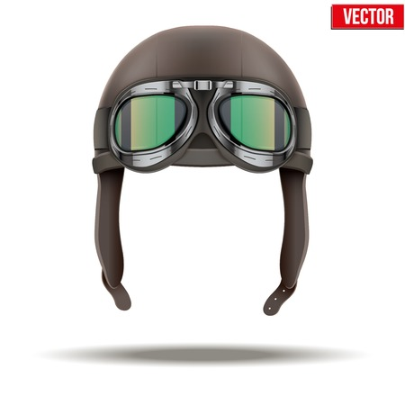 Retro aviator pilot leather helmet with goggles  Vintage object