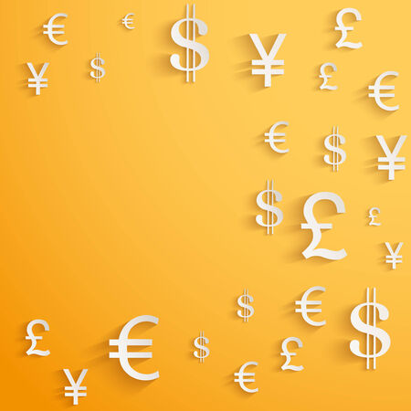Currency symbol on bright bright orange background with space for text