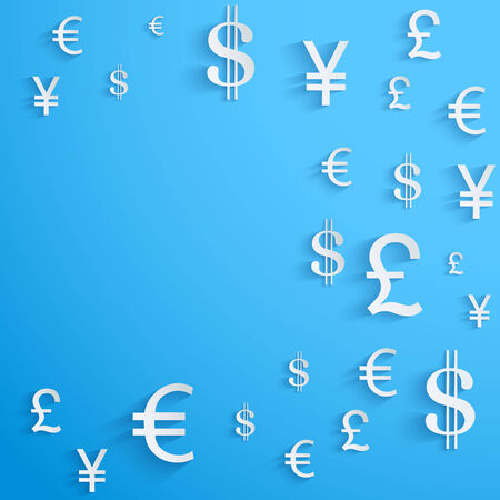 Currency symbol on bright blue background with space for text