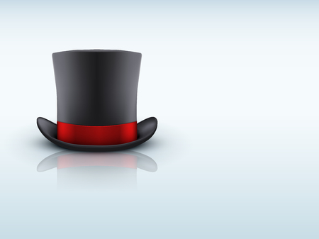 magical equipment: Background of Black gentleman hat cylinder and red ribbon with reflection