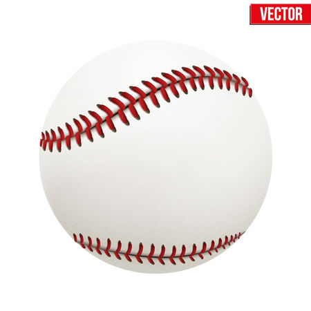 illustration of realistic baseball leather ball  Isolated on white background  Vector