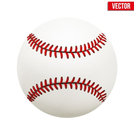 Vector illustration of realistic baseball leather ball  Isolated on white background  Vector