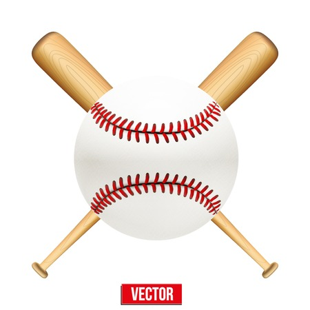 illustration of baseball leather ball and wooden bats.