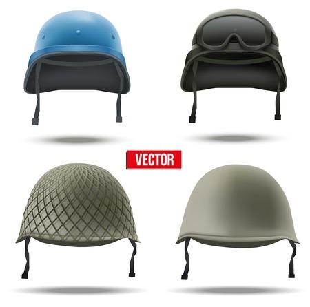 白の背景に分離された防衛の軍ヘルメット ベクトル図軍シンボルの設定します。