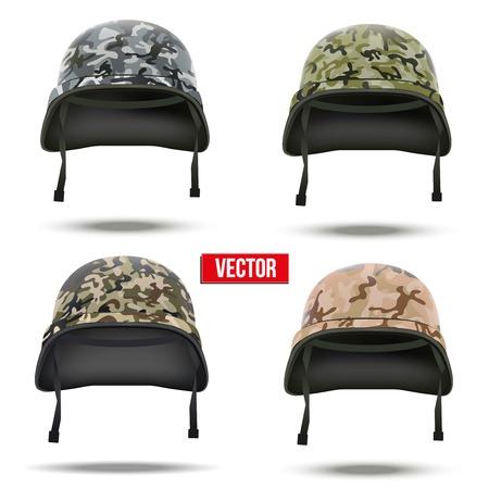 Conjunto de símbolo de la defensa Aislados en fondo blanco militar cascos de camuflaje Ilustración Vector Ejército Vectores