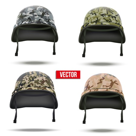 Set of Military camouflage helmets Vector Illustration  Army symbol of defense  Isolated on white background  Vettoriali