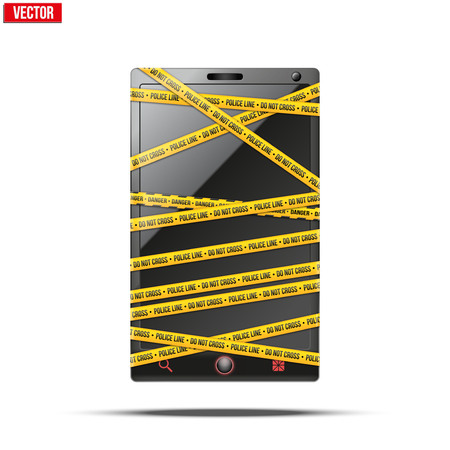 police tape: Smartphone, mobile phone with police tape wrapped words Do Not Cross  Vector illustration Isolated on white background  Illustration